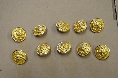 Lot of 10 US Navy Brass Eagle and Anchor Buttons, Waterbury Co.