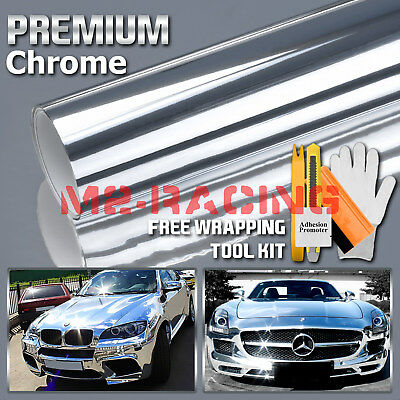 * Premium Silver Chrome Vinyl Wrap Sticker Decal Sheet Film Bubble Free 3 Layers
