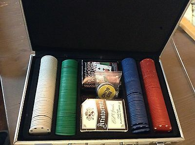 Poker Chips and Card Set Over 200 Pieces EUC