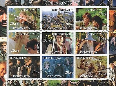 The Lord Of The Rings Kyrgyzstan 2001 Cto Cancelled To Order Stamp Sheetlet