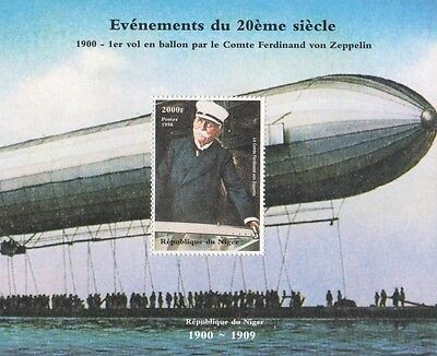 EVENTS OF THE 20th CENTURY FIRST ZEPPELIN FLIGHT NIGER 1998 MNH STAMP SHEETLET