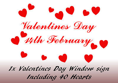 Valentines Day Window/wall sign with 40 love hearts vinyl sticker decal shop