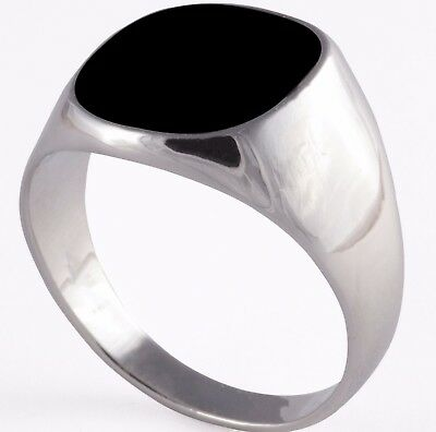Silver Plated Black Onyx Mens Ring Boys Women Signet Wedding Pinky Size K - Z+3
