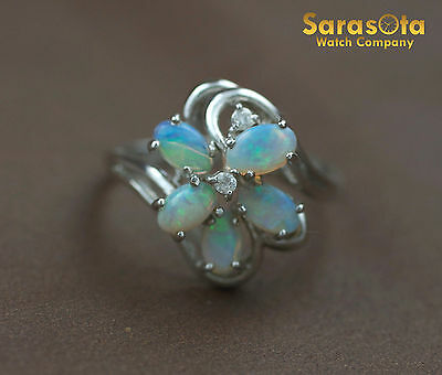 14K White Gold Cabochon Opals Diamond Accented Cocktail Women's Ring Size 6.25