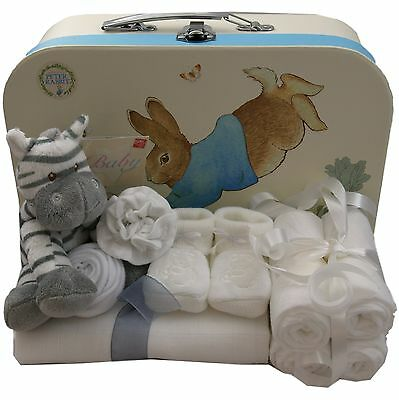 Baby gift basket packed Peter Rabbit case neutral unisex baby shower nappy cake