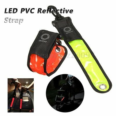 Reflective Red LED Light Strip Clip Blinking Safety Bike Walking Running Jogging