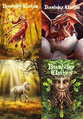 """Anne Stokes Greeting Cards: Set of 4 """"Enchanted Forest"""" Birthday * Fairy Dragon"""