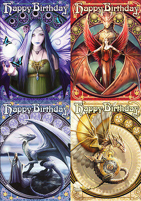 "Anne Stokes Greeting Cards: Set of 4 ""Happy Birthday"" Series * Dragon Fairy"