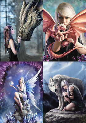 """Anne Stokes Greeting Cards: Set of 4 """"Wrap Around"""" Series * Dragon Fairy Wolf"""