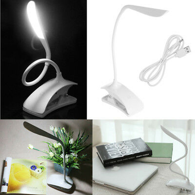 Dimmable USB Rechargeable Touch Sensor LED Clip-On Table Reading Light Desk Lamp