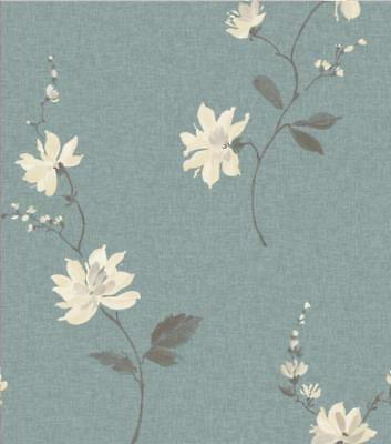 Ideco Luxury Japanese Orchid Floral Flowers Leaf 10M Wallpaper Roll Teal/cream