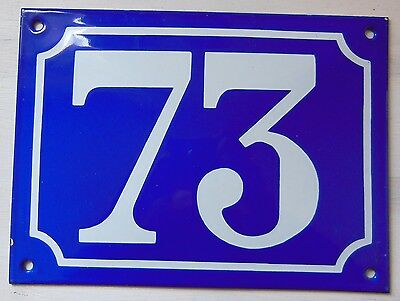 Large ANTIQUE FRENCH STEEL ENAMEL DOOR GATE HOUSE PLAQUE SIGN Blue Number 73