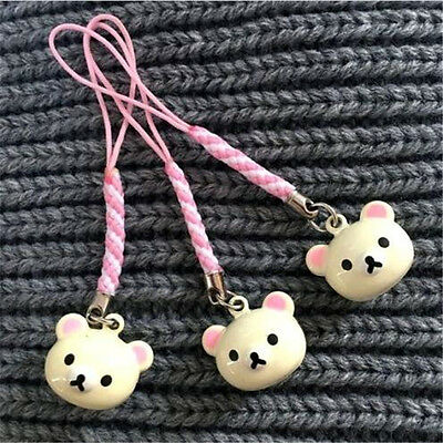 FD3690 Cute Rilakkuma Relax Bear Bell Keyring Key Chain Wallet Ring Beige 1pcs