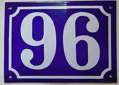 Large ANTIQUE FRENCH STEEL ENAMEL DOOR GATE HOUSE PLAQUE SIGN Blue Number 96
