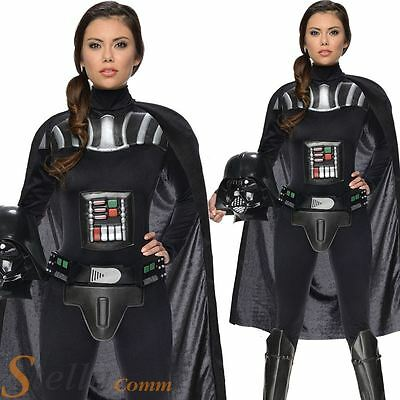 Ladies Darth Vader Star Wars Fancy Dress Costume Womens Adult Outfit