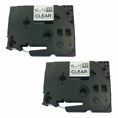 2 x Brother Compatible TZ131 Tape Cassette for P-Touch 1080 12mm Black/Clear