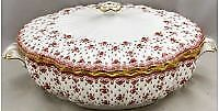 Spode Fleur De Lys-Red Round Covered Vegetable