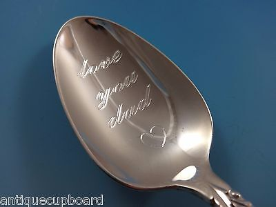 """Sterling Silver """"Love You Dad"""" Teaspoon Damask Rose Valentines Day! Fathers Day!"""