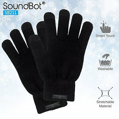 SoundBot SB211 Touch Screen Texting Winter Motorcycle Warm Gloves Black Large