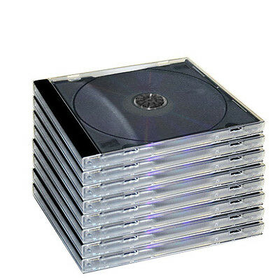 5 New Standard Single Black Tray Jewel Cases Cd Dvd Grade A Holds 1 Disc