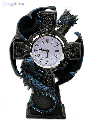 "Anne Stokes ""Blue Dragon on Celtic Cross"" Desk Clock with Battery"