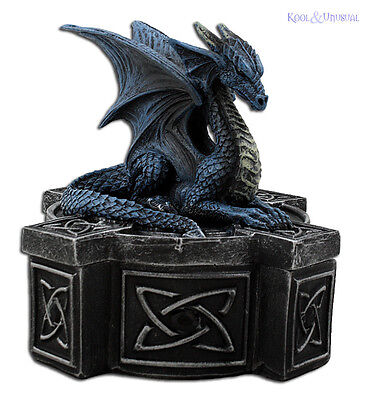 "Anne Stokes ""Blue Dragon on Celtic Cross"" Trinket Jewellery Box"