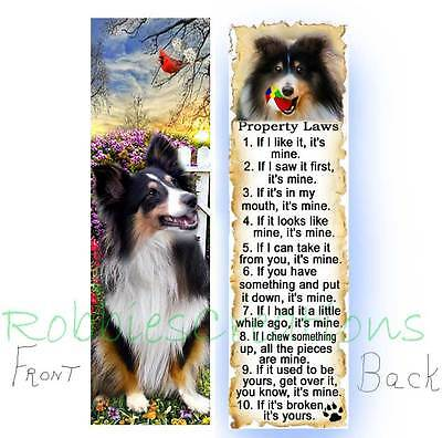 SHELTIE BOOKMARK Tri DOG RULES Property LAW Book Mark Card ART Collie Sheepdog