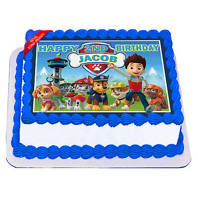 Paw Patrol Edible Icing Image Cake Topper Personalised Birthday Party Decoration