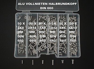300 Assortment 2/3/4 Aluminum Rivets Semi-Round Head Solid Din 660+Box New (1)