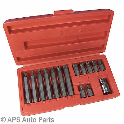 "15pc 1/2"" Metric Torque Torx Star Drive Socket Bit Set & Storage Case"