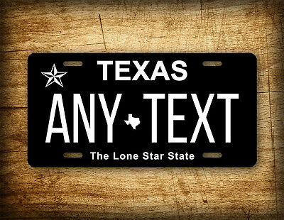 Texas INVERTED Personalized License Plate Customized Black and White Auto Tag TX