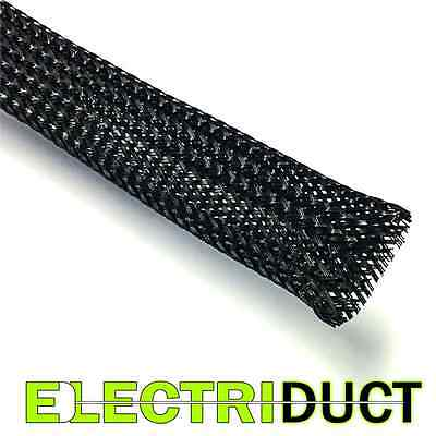 Industrial Grade Fray Resistant Expandable Braided Sleeving - Black -Electriduct