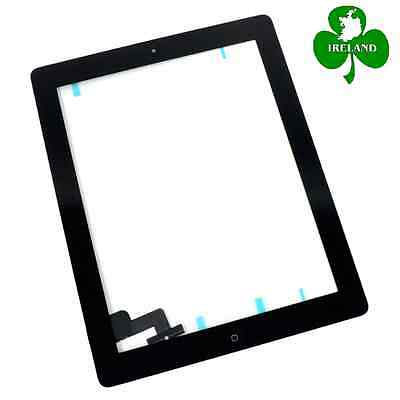 For iPad 2 Black Touch Screen Digitizer Glass with Home Button and Adhesive