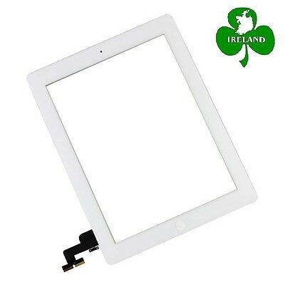 For iPad 2 White Touch Screen Digitizer Glass with Home Button and Adhesive