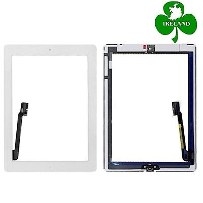 For iPad 3 / 4 White Touch Screen Digitizer Glass with Home Button and Adhesive