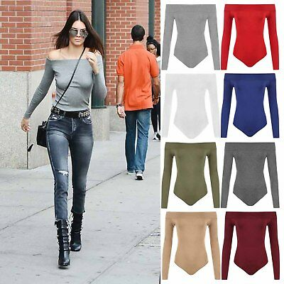 Ladies Womens Off Shoulder Long Sleeve Plain Stretch Bardot Bodysuit Leotard Top