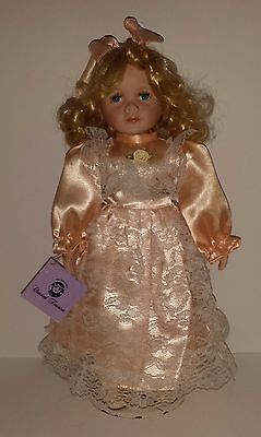 """Porcelain Doll 15"""" Tall Blonde  Hair  The Classical Treasure Collection W/stand"""
