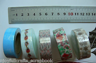 Great Quality WASHI TAPE  5 Asst 15mm Wide 10 Metres Long Green Tara MultiList