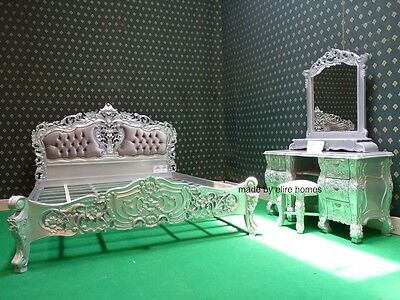"BESPOKE Silver Double Size 4'6""  French mahogany Rococo Bed set with dresser"