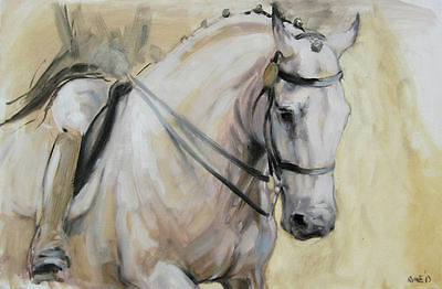 Horse equine dressage art LE A3 print 'Poise' from an original oil by H Irvine