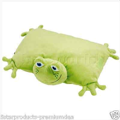 New Go Travel Kids Baby Frog Folding Pillow Super Soft Cuddly For Travel Hugs