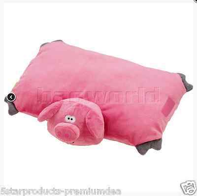 New Go Travel Kids Baby Pig Folding Pillow Super Soft Cuddly For Travel Hugs