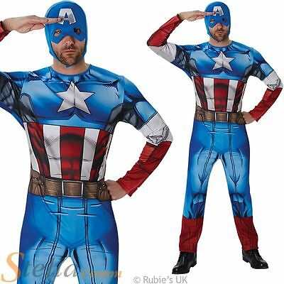 Classic Captain America Mens Fancy Dress Superhero Avengers Adult Costume Suit