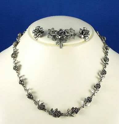 Antique Peruzzi Florence Italy 800 Silver Necklace Earrings Brooch Signed Set