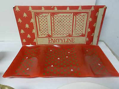 """LE Smith Partyline Glass Holiday Christmas Tree 3 Part  Serving Tray w/ Box 17 """""""