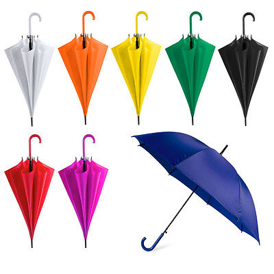 """Pack of 2 x 42"""" Bright Colourful Plastic Crook Handle Umbrella Brolly Wedding"""