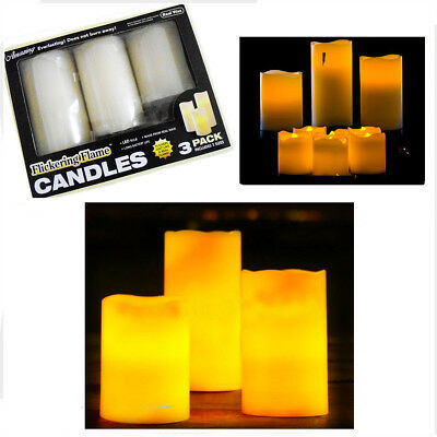 3 Led Flameless Candles Flickering Tea Light Pillar Candle Wax Battery Unscented