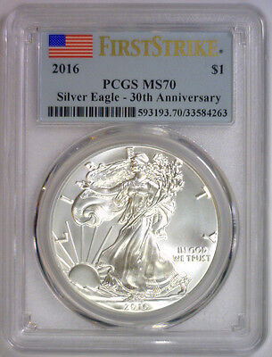 2016 American Silver Eagle ASE $1 ~ First Strike FLAG Label PCGS MS 70