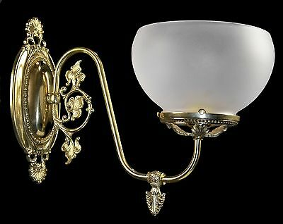 Gas Wall Sconce Reproduction Brass Ornate Victorian Vintage Style Gasolier