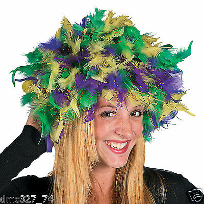 MARDI GRAS Fat Tuesday Parade Party Costume Accessory FEATHER HEADPIECE